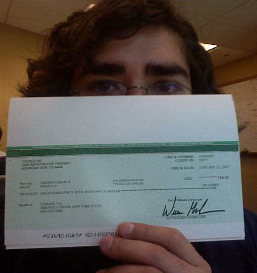 This is what a check from Google Adsense looks like