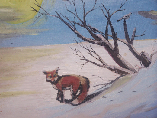A red fox seeks shelter on a chilly night...
