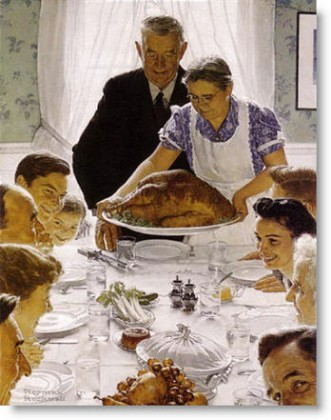 Rockwell painting of family dinner