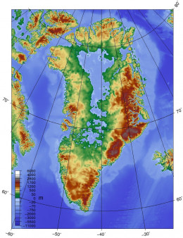 The mass of the massive ice sheet of Greenland has pushed the land mass of Greenland down, leaving high mountain ranges around it. It created a kind of 'open shop freezer'. The ice sheet has been trapped inside.