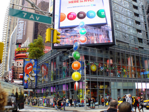The M & M Store at 1600 Broadway, New York, NY 10019. Open until 1:00 AM!