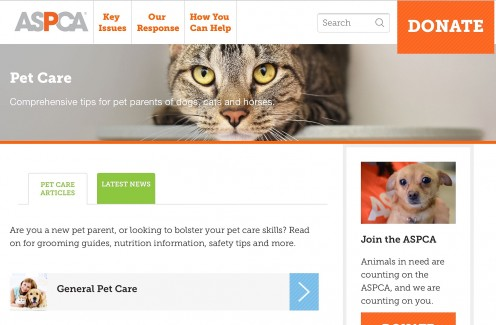 Screenshot of the pet care section of the ASPCA website