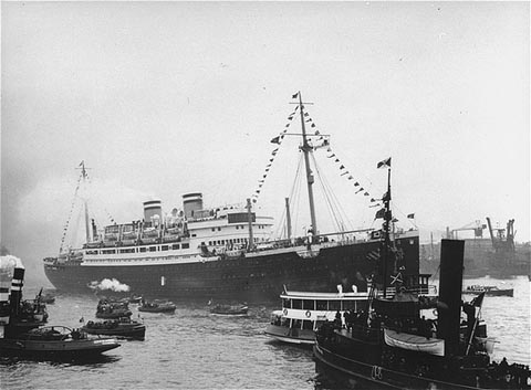 "The ""St. Louis,"" carrying more than 900 Jewish refugees, waits in the port of Havana. The Cuban government denied the passengers entry. Cuba, June 1 or 2, 1939. — US Holocaust Memorial Museum"