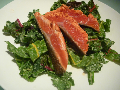 Salmon and Kale - Excellent choices for a heart-smart diet.