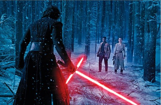 Kylo Ren faces off with Finn and Rey in new Star Wars: The Force Awakens photos