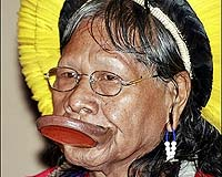 Raoni Metyktire, one of the leaders of the Kayapo Indian Amazon tribe,