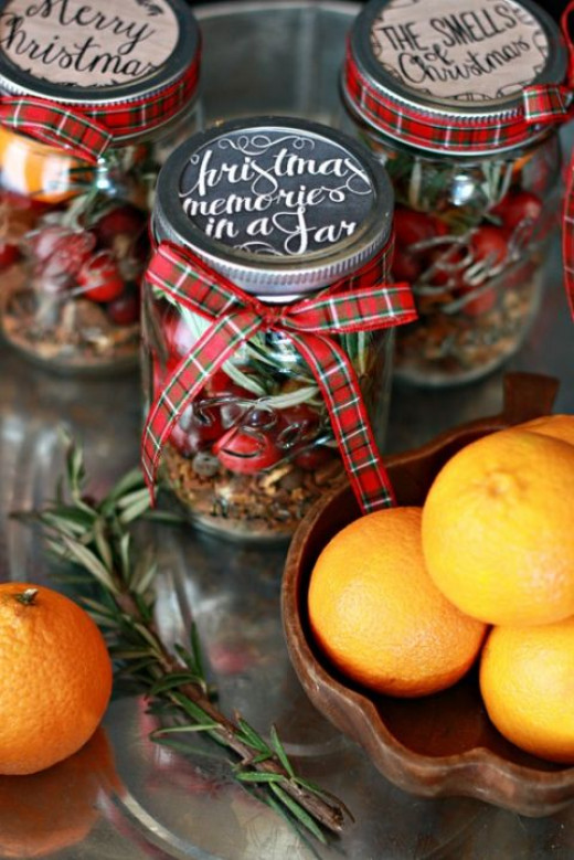 What's amazing with this gift is your recipient could put in just about anything in this jar, from strawberry jam into candies and even sugar or coffee. With its stylish cover and ribbon, your loved one is sure to fall in love for this DIY surprise!