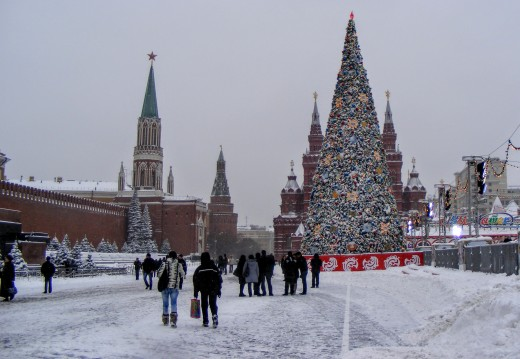 Holiday tree (yolka) at the Red Square in Moscow, Russia.