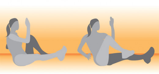 Take the same exercise from the section above, add in opposite leg to arm, performing a seated bicycle twist. Do this for the same count of 20, 10 each side and 4 reps total.
