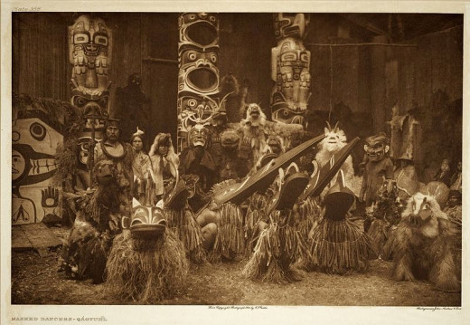 Kwakiutl potlatch performers give tribute to their clan's founding animals and foundation stories.