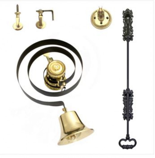 A polished brass traditional butlerss bell kit