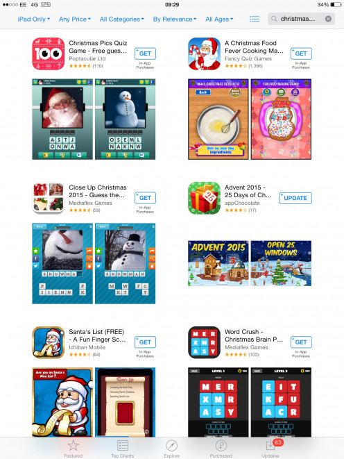 Christmas apps you can get for free using your iPad and searching for Christmas Games at the App Store