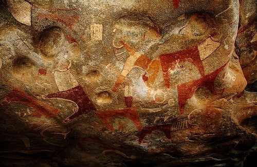 The Painting is Laas Geel, Somalia, Discovered by a French team of Archaeologists in 2002