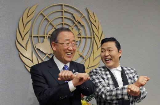 Ban Ki Moon UN Chief With Fellow South Korean Rapper Psy.