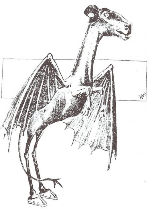 A photo of the Jersey Devil published in a newspaper in 1909.