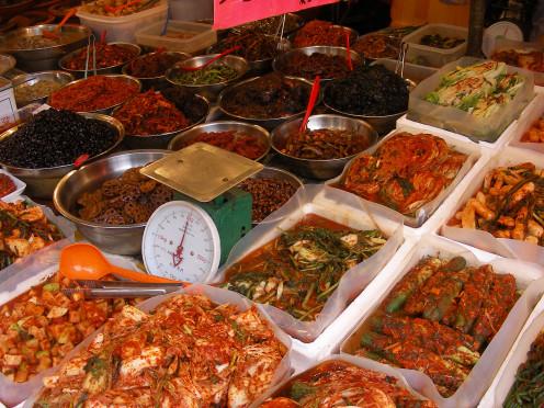 Typical Korean Street Market with Kimchi