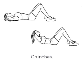 The most basic of abdominal exercises. Focus on breathing while you perform each crunch.