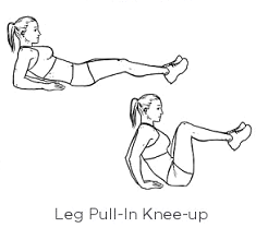 This one is a lot more challenging. Lying back on your elbows rise up to meet your knees, control your body back down to complete one rep.