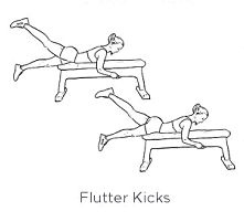 Using a bench, lying on your stomach with your legs hanging off, control the switching of legs.