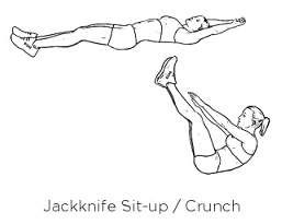 Also on the more challenging side. Start completely flat with arms above the head, pulling your core into your center, act to bring your fingers to your toes. Gently lay back down.