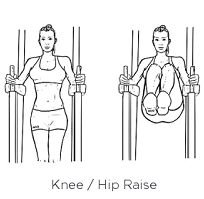 Requires a rack. Holding the weight of your upper body on your forearms bring your legs up from the waist. Straight leg, tight bent knee, or lose bent knee.