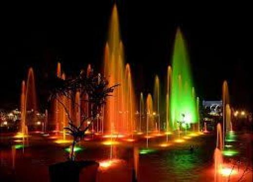 Night view musical fountain