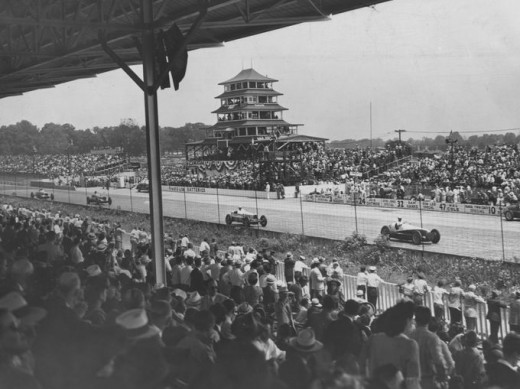 A view of the straightaway near the first turn from the stands during the 1946 Indianapolis 500