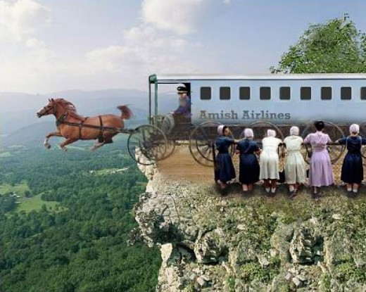 Of course it's always faster to fly and even the Amish are getting in the act!