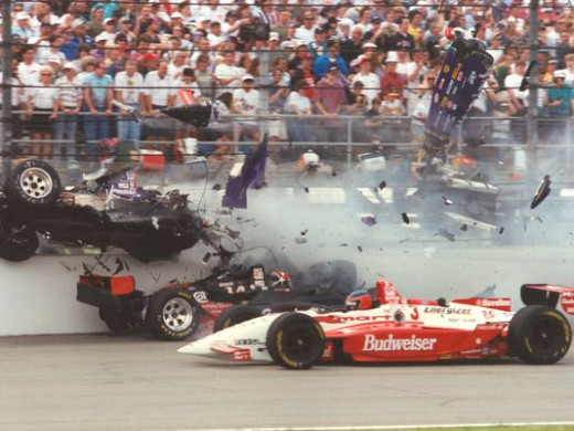 1995 Indy 500 Crash, Stan Fox's car is cut in half as it is hit by Eddie Cheever's car.