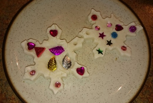 Snowflake dough ornaments.