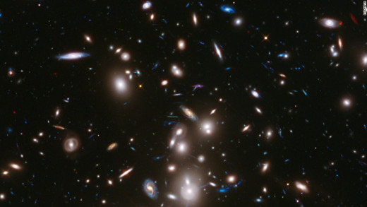 Multiple galaxies imaged by the Hubble Telescope
