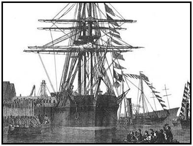 Drawing of the HMS RESOLUTE from the Illustrated London News, December 27, 1856, public domain.