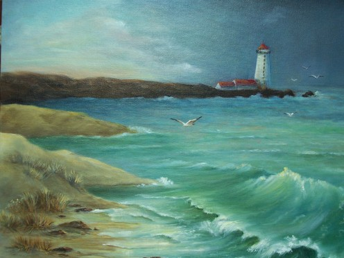 by Jean Powers done in OIlS, of JPbar ART Studio, West Jordan, UT.  Can be seen in Manager's Office 6799 Skyway, Paradise, California  95969 A memory of growing up with her father and when he took her to the lighthouse in California.
