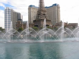 A photo of the fountains of Bellagio, directly across the street from where the strip crash took place. These fountains move in sync with music. They are beautiful to watch!