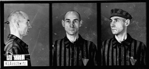 Mug shot of homosexual Auschwitz prisoner: August Pfeiffer, servant, born Aug. 8, 1895, in Weferlingen, arrived to Auschwitz Nov. 1, 1941, and died there Dec. 28, 1941. —State Museum of Auschwitz, Oswiecim, Poland