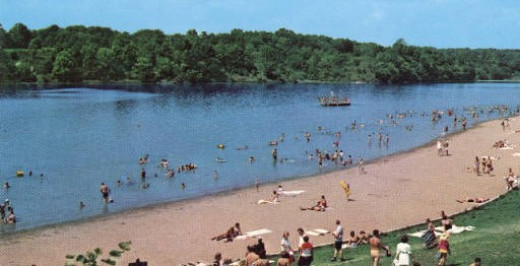 Postcard of Whitewater Memorial State Park Beach in 1965