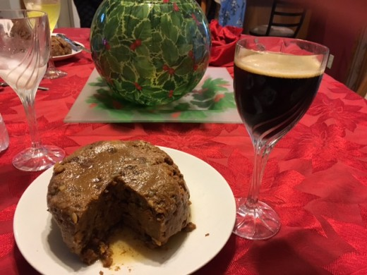 My latest cooking-with-beer experiment.  A traditional British Christmas pudding, but made with Guinness stout.  (FYI: that's a Sam Adams Chocolate Bock in the glass.)