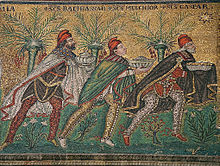 The wise men bearing gifts. a 6th Century Byzantine depiction