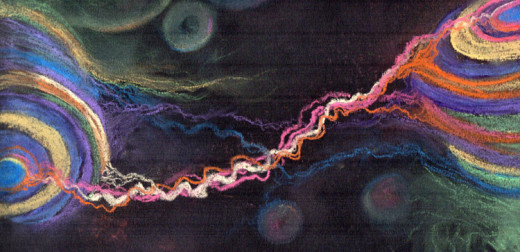 An artist's conception of sound and feelings transferred between musician and audience,  soft pastel on black paper.