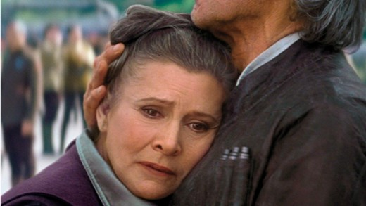 She looks pained. She acts pained. It actually hurts to watch Carrie Fisher in Star Wars: The Force Awakens