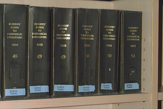 the Reader's Guide annuals on a shelf