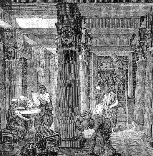 an imaginary depiction of the Library at Alexandria