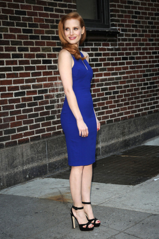 Jessica Chastain is gorgeous in blue