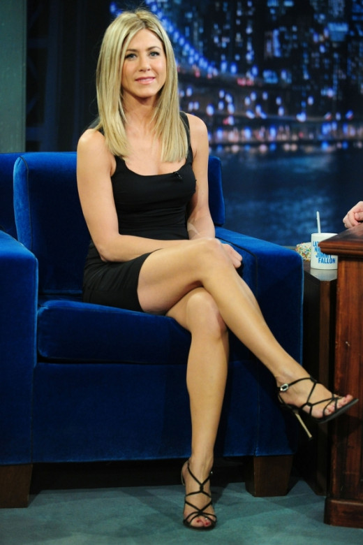 Jennifer Aniston sexy crossed legs in a little black number and high heels on late night talk TV