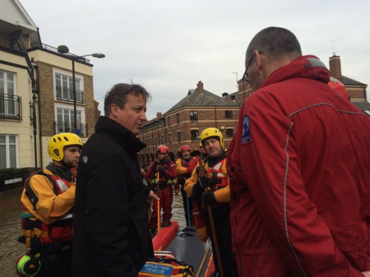 David Cameron visits flood victims in Yorkshire, 28th December 2015.