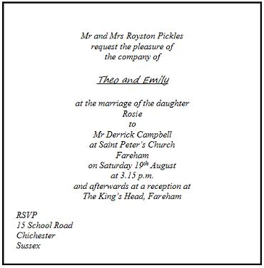 Addressing invitations to the wedding ceremony with the appropriate etiquette.