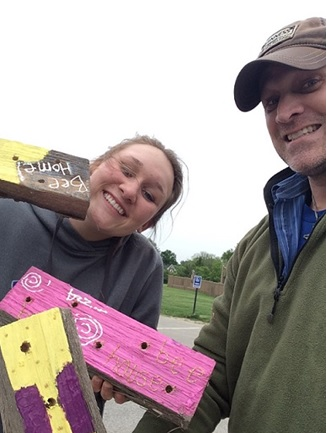 The author and his daughter (left), after creating a few bee habitats.