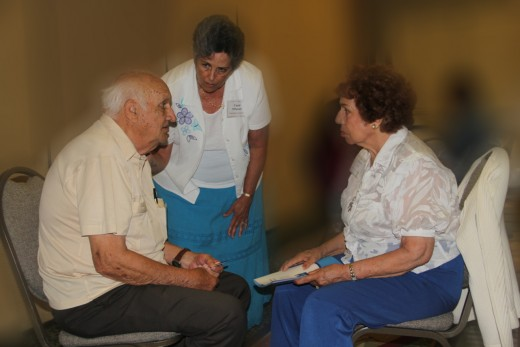 A Senior Citizen confiding and solving problems