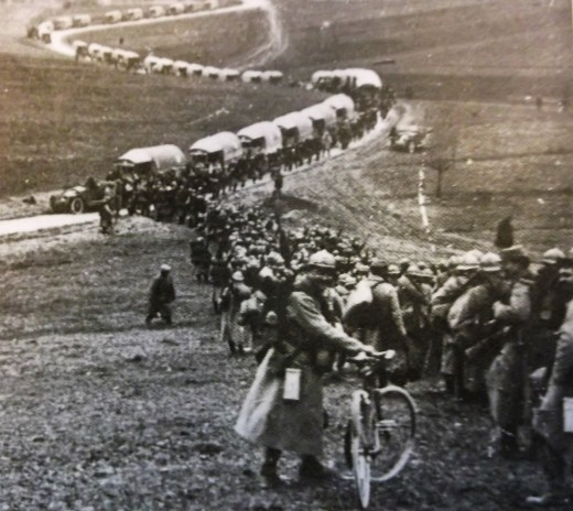 The French could not lose Verdun. Thousands of trucks traveled a gravel road to bring supplies.