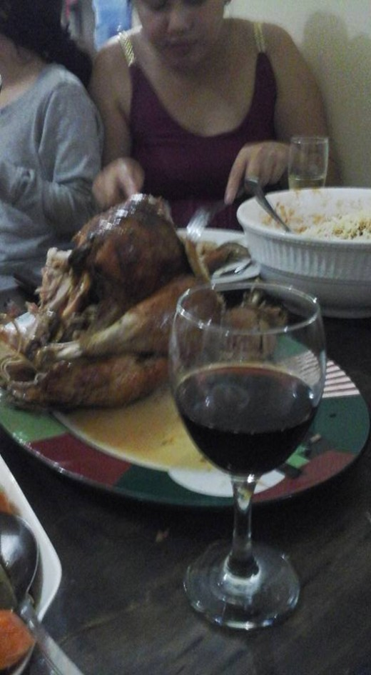 The turkey, almost gone, and the red wine